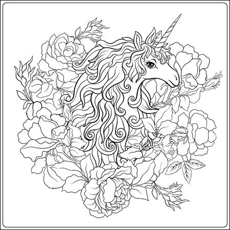 ユニコーン。花に囲まれたユニコーンから成っている構成  イラスト・ベクター素材