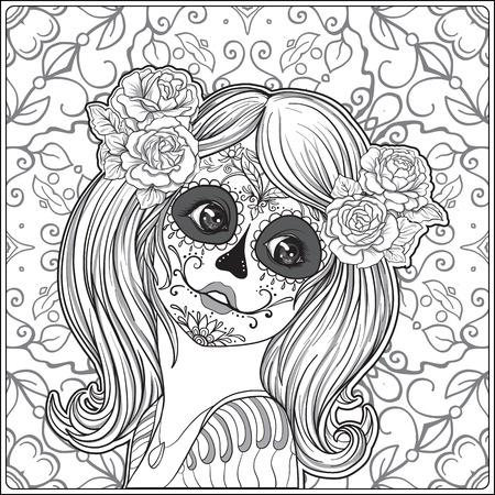 Het portret van een jong mooi meisje in Halloween of de Dag van de Doden maakt omhoog op decoratieve achtergrond. Overzichtstekening kleurplaat voor het volwassen kleurboek. Voorraad vectorillustratie Stock Illustratie
