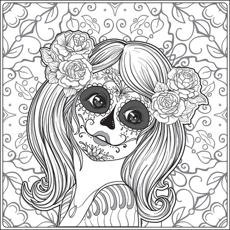 Portrait of a young beautiful girl in Halloween or Day of the Dead make up on decorative background. Outline hand drawing coloring page for the adult coloring book. Stock vector illustration. Çizim