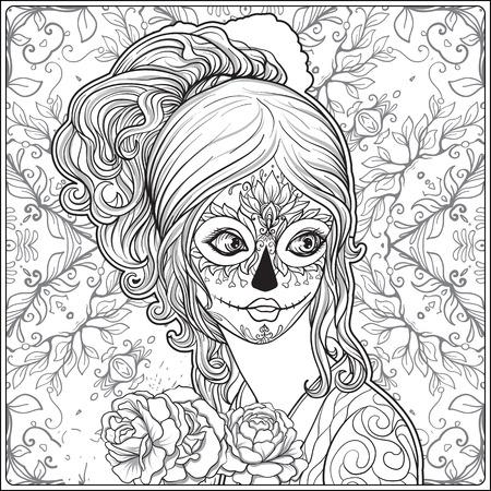 할로윈 또는 죽은의 날에 젊은 아름 다운 여자의 초상화 장식 배경에 메이크업. 성인 색칠 공부 책자에 대한 손 그리기 착색 페이지 개요. 주식 벡터 일
