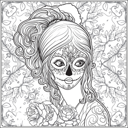 Portrait of a young beautiful girl in Halloween or Day of the Dead make up on decorative background. Outline hand drawing coloring page for the adult coloring book. Stock vector illustration. Иллюстрация