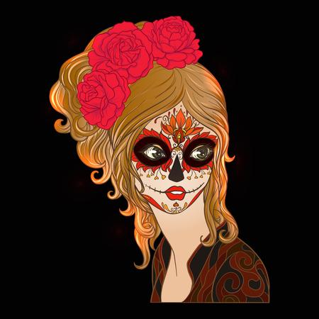 ハロウィーンや De の日の美しい少女の肖像画