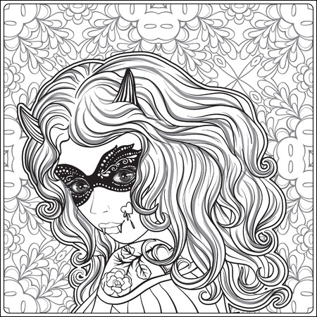 Portrait of a young beautiful girl in Halloween or Day of the De Illustration