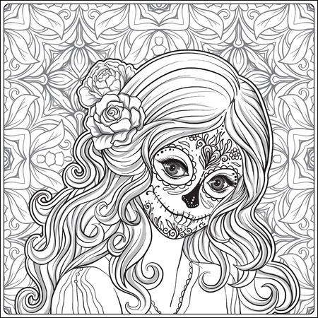 할로윈 또는 드 데이의 젊은 아름 다운 여자의 초상화