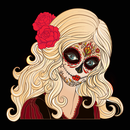 traje mexicano: Portrait of a young beautiful girl in Halloween or Day of the De Vectores