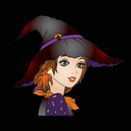 Portret van een jong mooi meisje in Halloween of Dag van de De