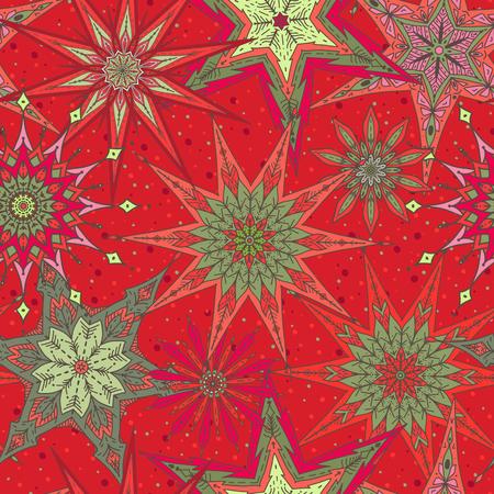 Naadloze patroon achtergrond met decoratieve sterren. Stock Illustratie