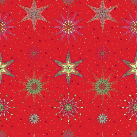 装飾的な星とのシームレスなパターン背景。  イラスト・ベクター素材