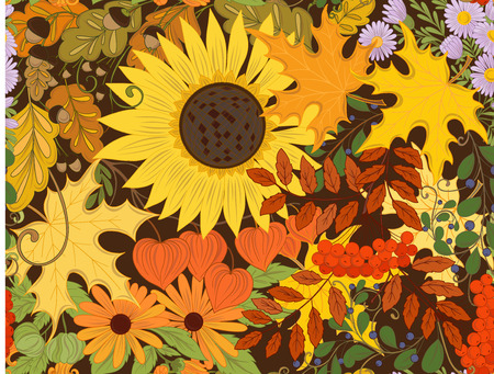 Seamless pattern background with autumn flowers Ilustracja