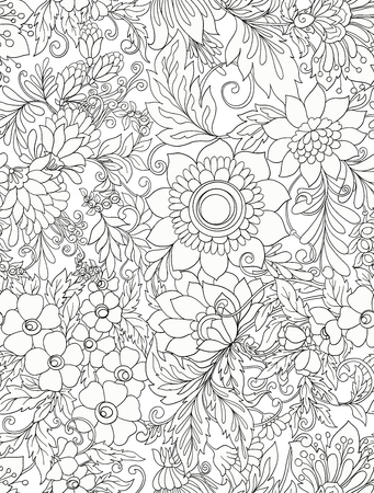 Seamless pattern background with abstract decorative summer flowers Çizim