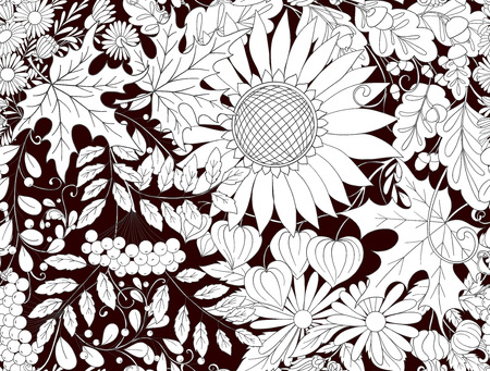 Seamless pattern background with autumn flowers Illustration