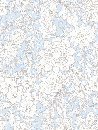 Seamless pattern, background with abstract decorative summer flowers Illustration