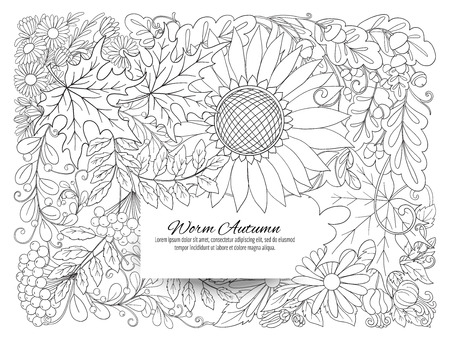 Banner, poster or invitation with autumn flowers, leaves and pla