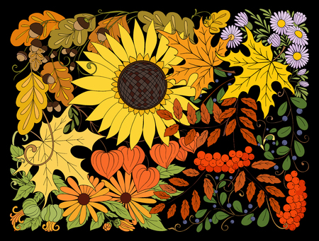 Composition with autumn flowers, leaves and plants.