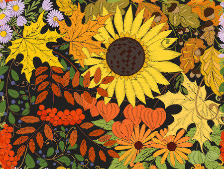 Seamless pattern, background with autumn flowers, leaves and pla