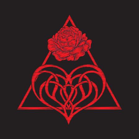 bordado con rosas rojas y triángulo y corazón de amor
