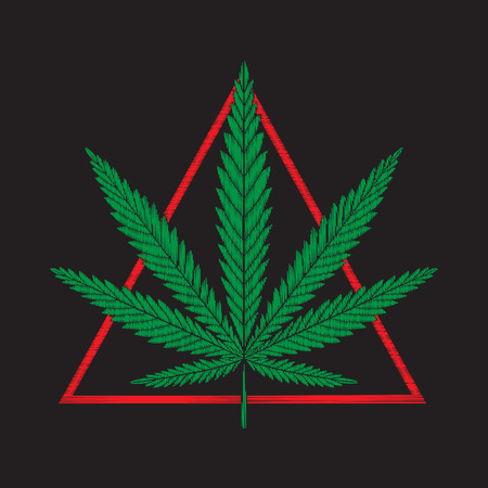 Embroidery with red triangle and cannabis leaves.