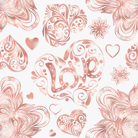 Love heart seamless pattern in rose gold colors. Illustration