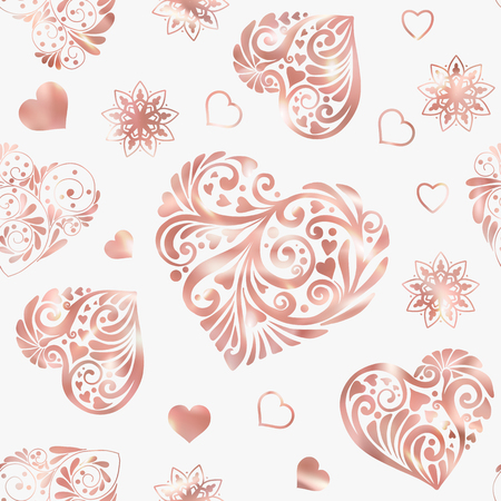 Love heart seamless pattern in rose gold colors. Stock line vector illustration