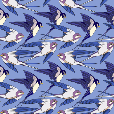 Colorful seamless pattern, background with swallows. Stock vector illustration. Illustration