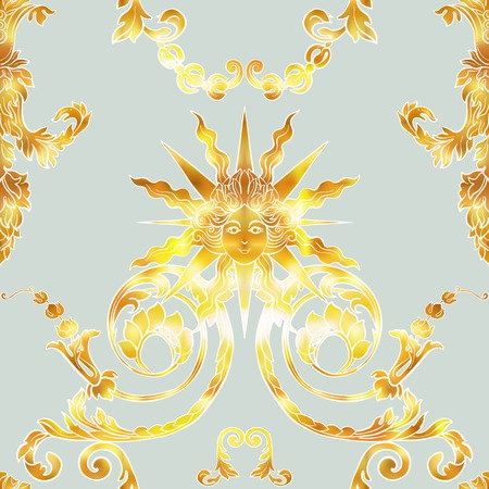 Seamless pattern with richly decorated rococo style floral decor elements. In vintage gold colors. Stock vector illustration. Illustration