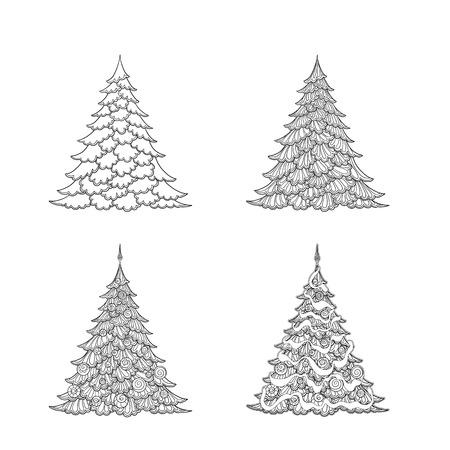 Set of Christmas trees. Illustration