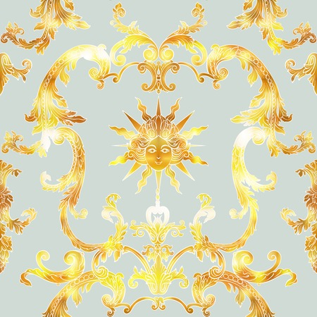 Seamless pattern with richly decorated rococo style floral decor elements.