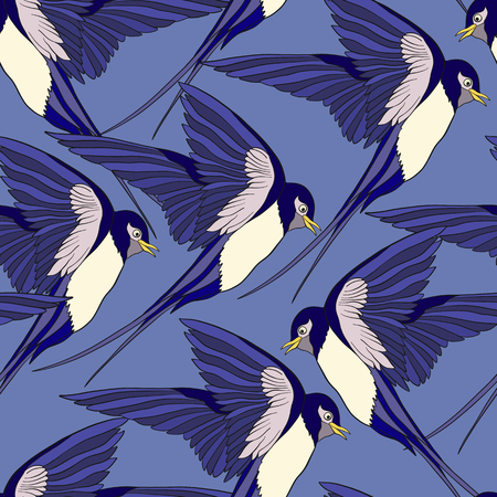 Colorful seamless pattern, background with swallows.
