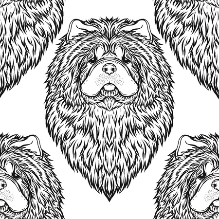 Seamless pattern with black and white graphic drawing of a Chow Chow dog head. Vector illustration.