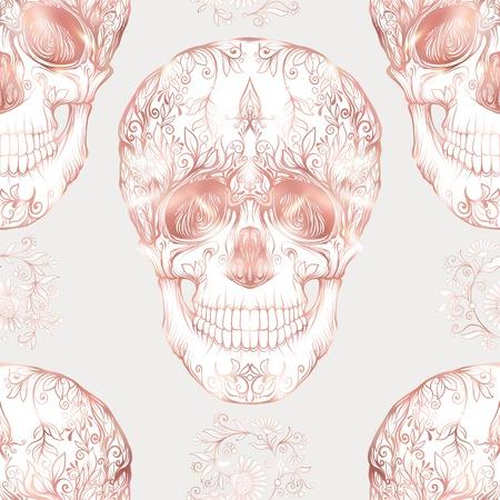 シームレスなパターンは、ローズ ゴールド色で人間の頭蓋骨との背景。