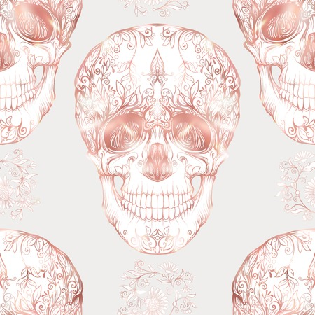 Seamless pattern, background with human skull in rose gold colors. Ilustração