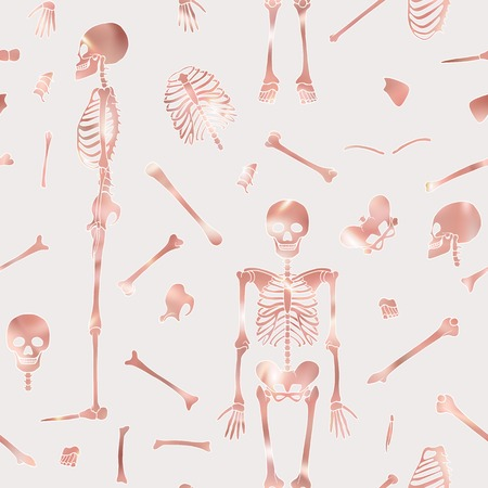Seamless pattern, background with dancing skeletons in rose gold color. Vector illustration. Ilustrace