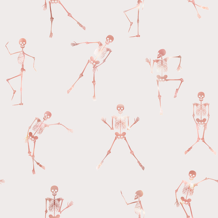 Seamless pattern, background with dancing skeletons in rose gold color. Vector illustration. Illustration