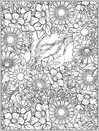 Floral seamless pattern with butterflies and bees  in realistic botanical style. Print Stock Illustratie