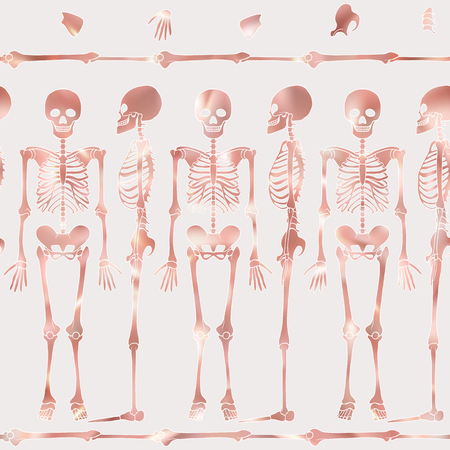 Seamless pattern, background with dancing skeletons in rose gold color. Vector illustration. Stock Photo