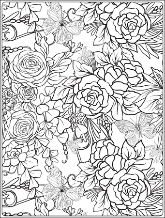 Floral seamless pattern with butterflies and bees  in realistic botanical style. Print 일러스트