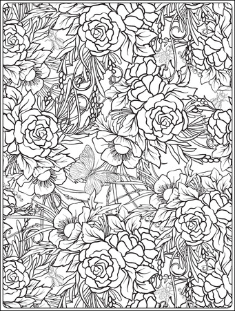 Floral seamless pattern with butterflies and bees in realistic botanical style. Print
