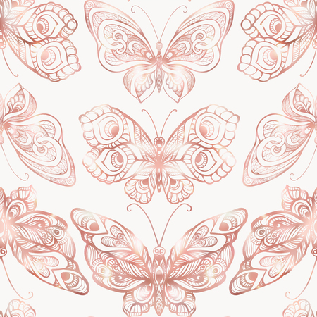 Butterflies with decor pattern. Seamless pattern, background. Graphic in rose gold colors.