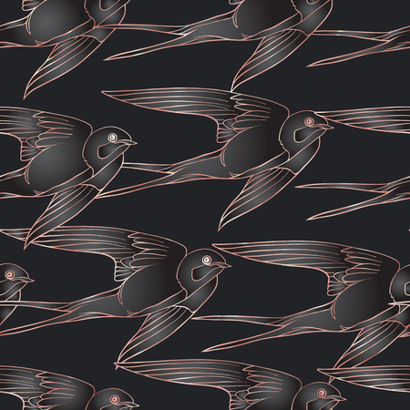 Swallow birds. Colorful seamless pattern in rose gold colors on black background.