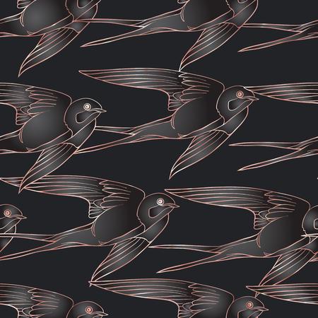 Zwaluw vogels. Kleurrijk naadloos patroon in roze gouden kleuren op zwarte achtergrond.