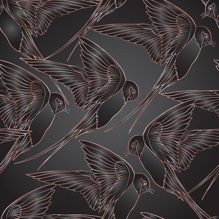 Zwaluw vogels. Kleurrijk naadloos patroon, in roze gouden kleuren op zwarte achtergrond.