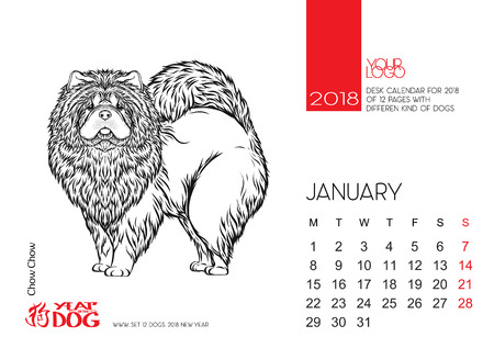 chinese astrology: The desktop calendar page for 2018 with the image of a dog, a symbol of the Chinese horoscope for 2018.