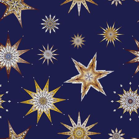 シームレスパターン、装飾的な星と背景。