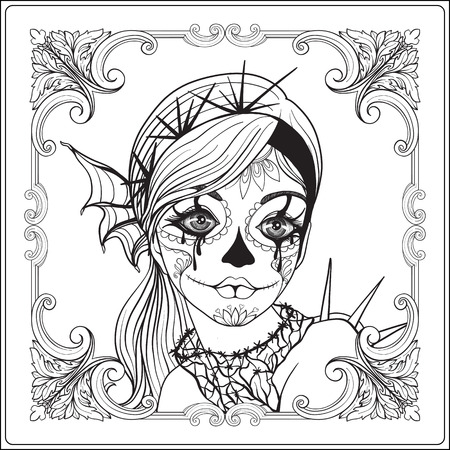 traje mexicano: Portrait of a young beautiful girl in Halloween or Day of the Dead make up in decorative frame.