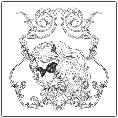 traje mexicano: Portrait of a beautiful girl in Halloween make up in decorative frame for drawing coloring book.
