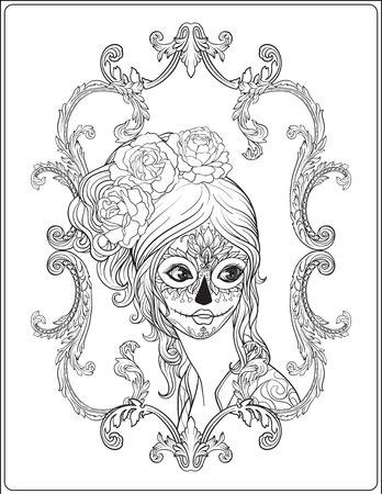 traje mexicano: Portrait of a young beautiful girl in Halloween or Day of the Dead