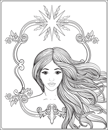 Young beautiful girl with long hair. Stock line vector illustrat