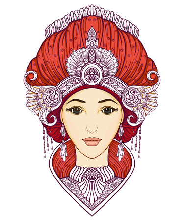 Junges schönes Mädchen in reichem verziertem Kostüm im orientalischen Stil Standard-Bild - 87284624