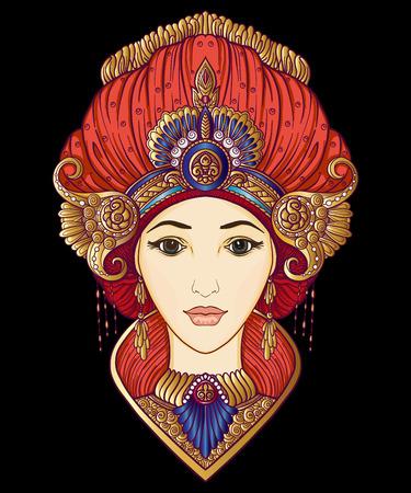 Junges schönes Mädchen in reichem verziertem Kostüm im orientalischen Stil Standard-Bild - 87284626