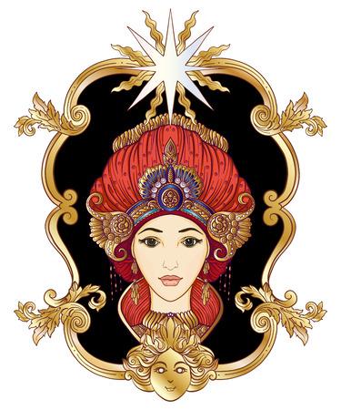 Jong mooi meisje in rijk versierd kostuum in oosterse stijl